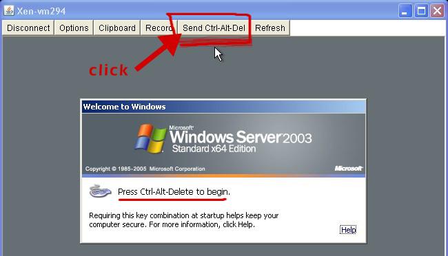 login to windows 2003