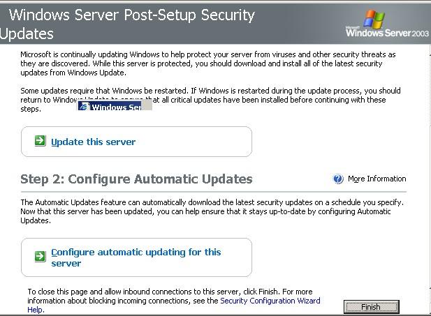 Post setuup security update steep